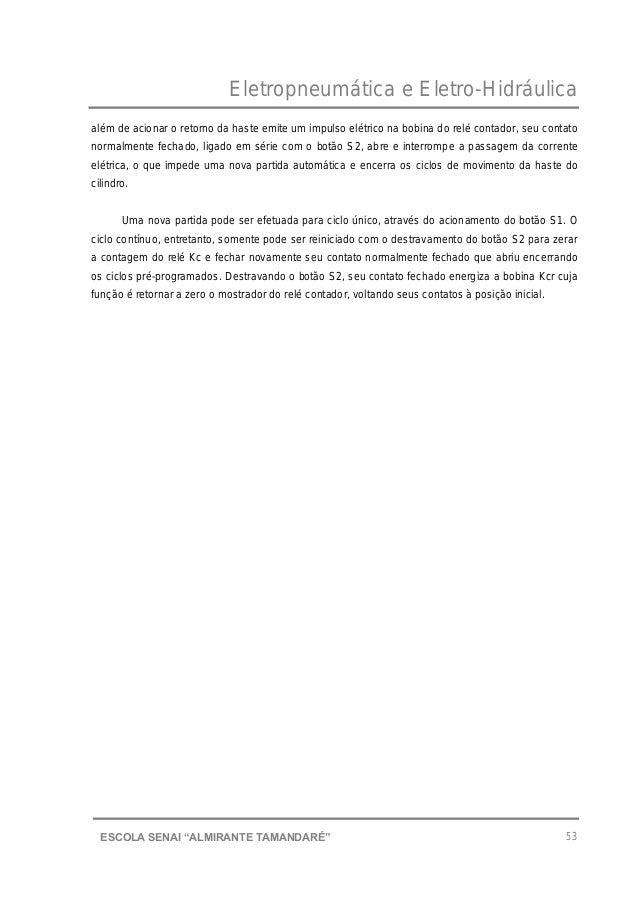 """Eletropneumática e Eletro-Hidráulica 53ESCOLA SENAI """"ALMIRANTE TAMANDARɔ além de acionar o retorno da haste emite um impu..."""