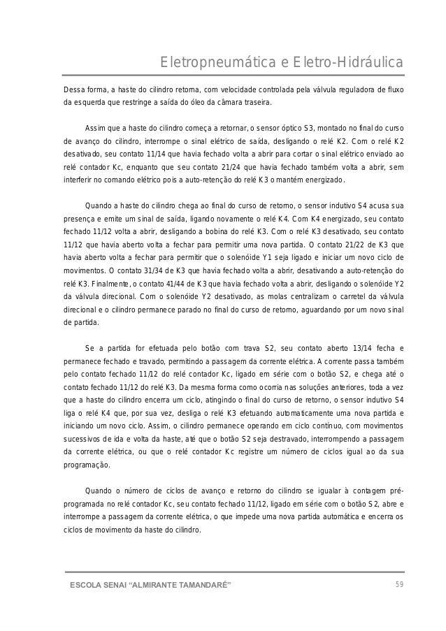 """Eletropneumática e Eletro-Hidráulica 59ESCOLA SENAI """"ALMIRANTE TAMANDARɔ Dessa forma, a haste do cilindro retorna, com ve..."""