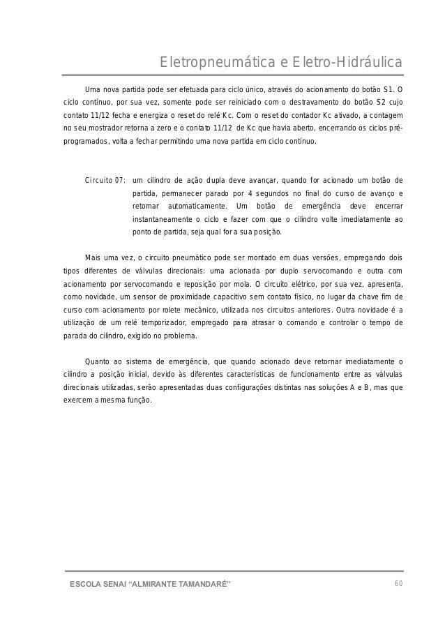 """Eletropneumática e Eletro-Hidráulica 60ESCOLA SENAI """"ALMIRANTE TAMANDARɔ Uma nova partida pode ser efetuada para ciclo ún..."""