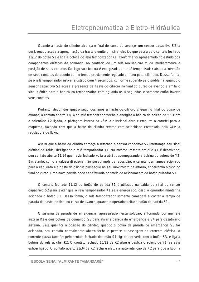 """Eletropneumática e Eletro-Hidráulica 62ESCOLA SENAI """"ALMIRANTE TAMANDARɔ Quando a haste do cilindro alcança o final do cu..."""