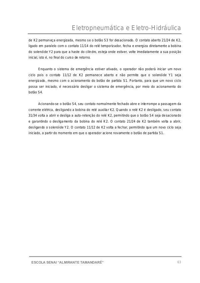 """Eletropneumática e Eletro-Hidráulica 63ESCOLA SENAI """"ALMIRANTE TAMANDARɔ de K2 permaneça energizada, mesmo se o botão S3 ..."""