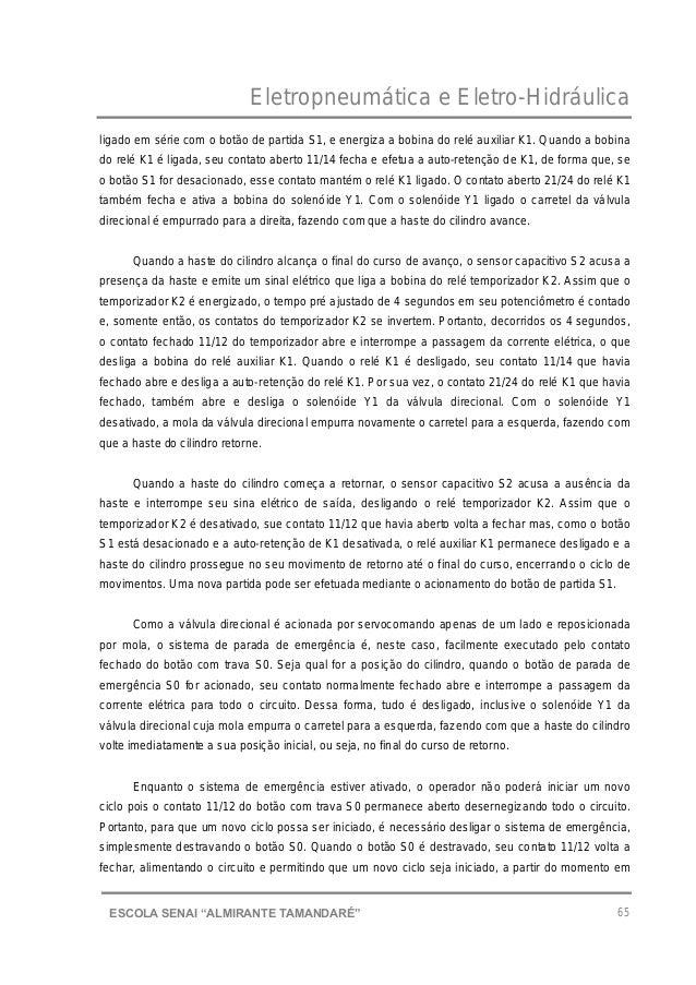 """Eletropneumática e Eletro-Hidráulica 65ESCOLA SENAI """"ALMIRANTE TAMANDARɔ ligado em série com o botão de partida S1, e ene..."""