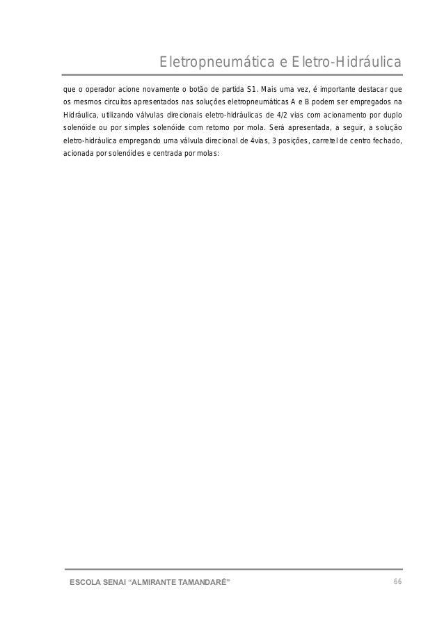 """Eletropneumática e Eletro-Hidráulica 66ESCOLA SENAI """"ALMIRANTE TAMANDARɔ que o operador acione novamente o botão de parti..."""