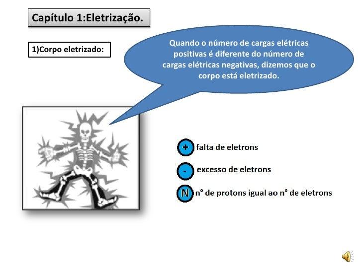 Capítulo 1:Eletrização.<br />Quando o número de cargas elétricas positivas é diferente do número de cargas elétricas negat...