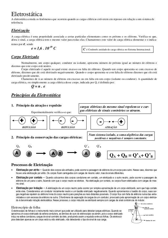 EletrostáticaA eletrostática estuda os fenômenos que ocorrem quando as cargas elétricas estiverem em repouso em relação a ...