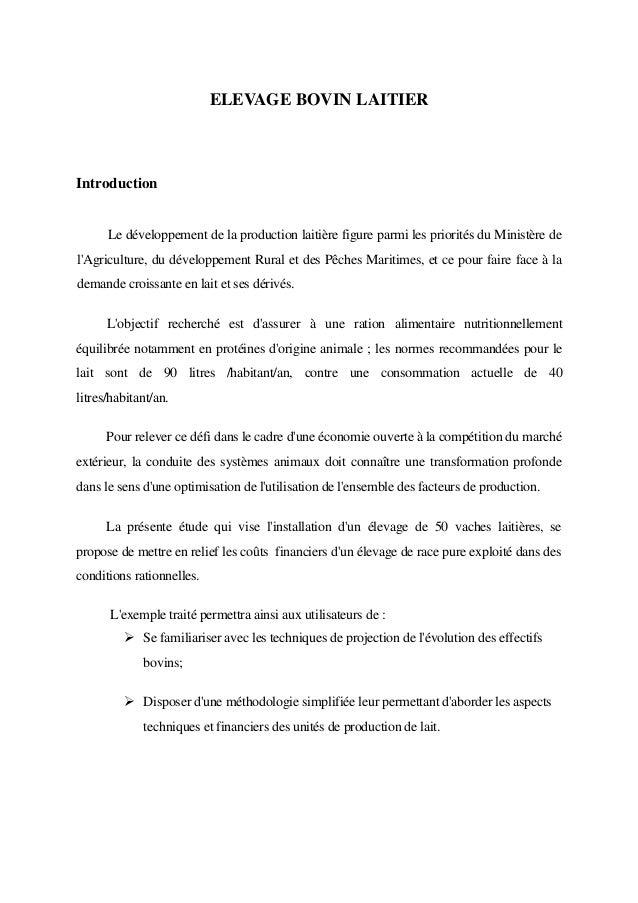 ELEVAGE BOVIN LAITIERIntroduction      Le développement de la production laitière figure parmi les priorités du Ministère ...