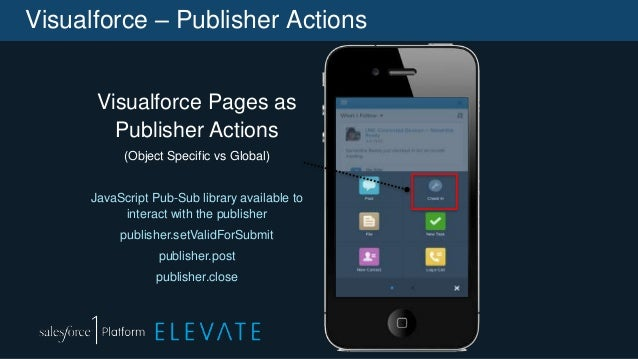 Visualforce – Publisher Actions Visualforce Pages as Publisher Actions (Object Specific vs Global) JavaScript Pub-Sub libr...