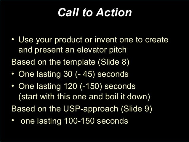 Elevator pitch for 30 second pitch template
