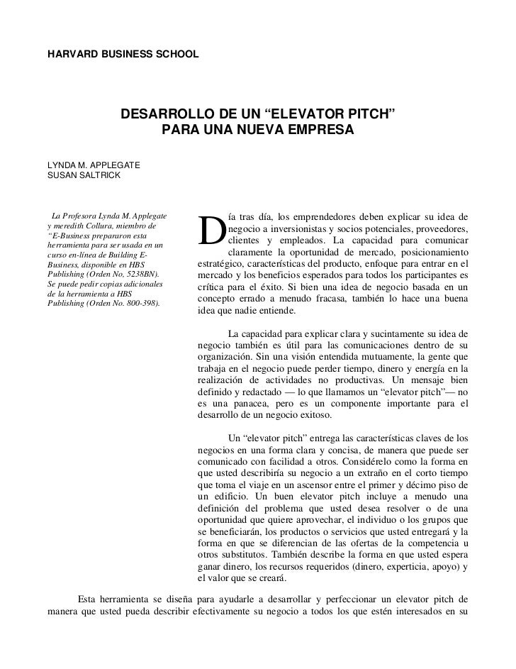 """HARVARD BUSINESS SCHOOL                    DESARROLLO DE UN """"ELEVATOR PITCH""""                        PARA UNA NUEVA EMPRESA..."""