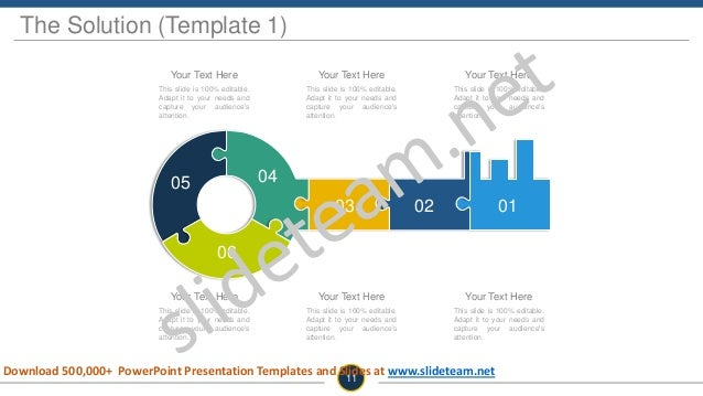 The Solution (Template 1) 010203 0405 06 This slide is 100% editable. Adapt it to your needs and capture your audience's a...