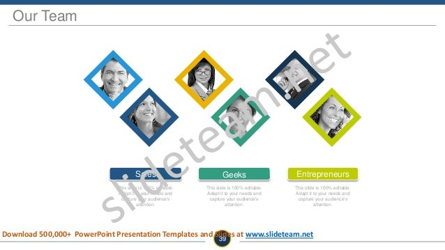 Our Team 39 Geeks This slide is 100% editable. Adapt it to your needs and capture your audience's attention. Entrepreneurs...