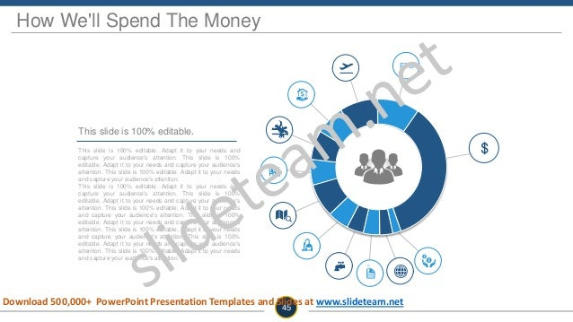 How We'll Spend The Money This slide is 100% editable. Adapt it to your needs and capture your audience's attention. This ...
