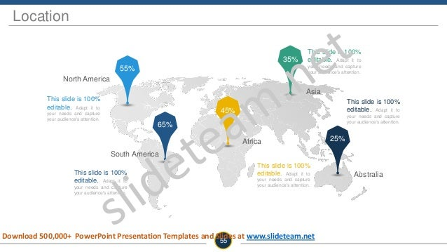 Location 55 South America Africa Australia Asia North America 55% 65% 45% 35% 25% This slide is 100% editable. Adapt it to...
