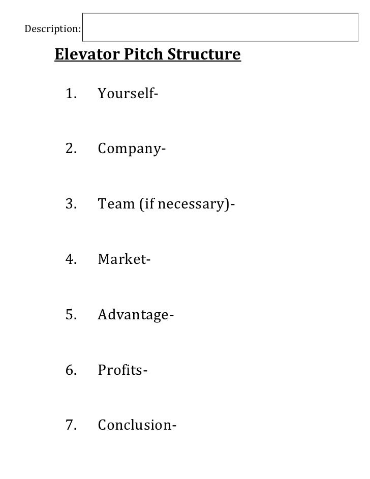 Elevator pitch Structure