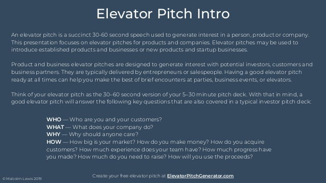 Elevator Pitch - Template & Example