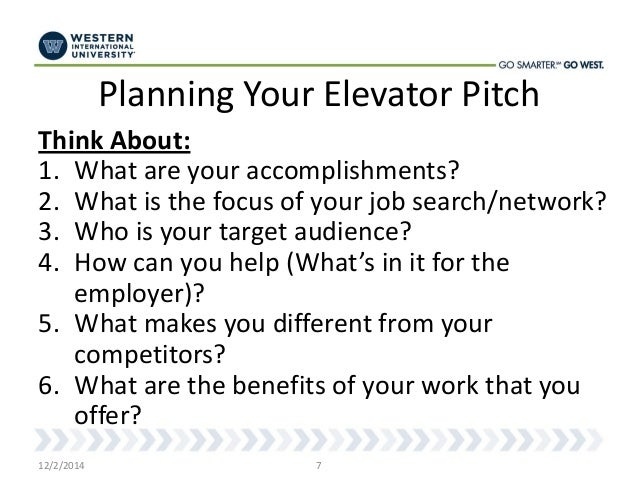 How to Develop an Elevator Pitch - West Career Week 2014