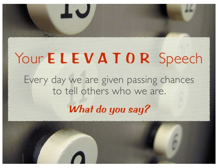 what is a elevator speech