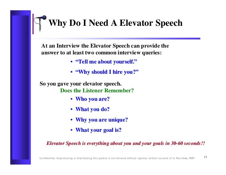 Crafting an Elevator Pitch - Communications Skills From.