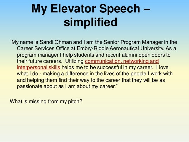 elevator speech on customer service Customer service employability stories elevator speeches: no nobody needs an elevator speech great or otherwise.