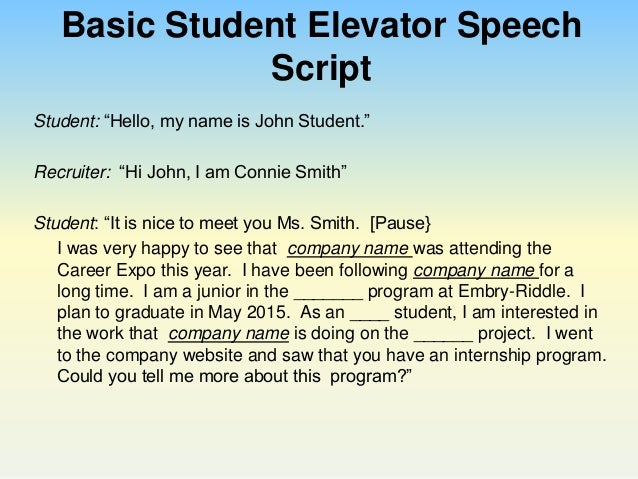 Perfect your Pitch Using an Elevator Speech to Impress – Elevator Pitch Example