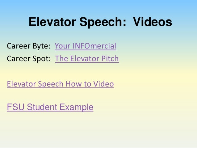 how do you write an elevator speech about yourself