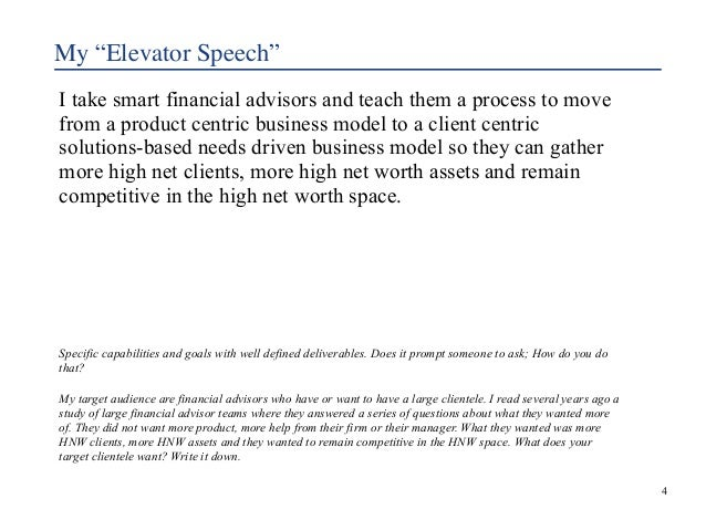 """My """"Elevator Speech""""  I take smart financial advisors and teach them a process to move  from a product centric business mo..."""