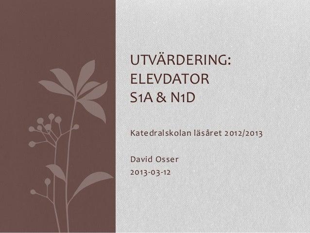 UTVÄRDERING:ELEVDATORS1A & N1DKatedralskolan läsåret 2012/2013David Osser2013-03-12