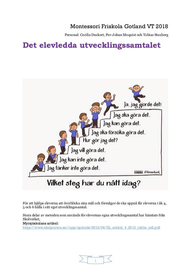1 Montessori Friskola Gotland VT 2018 Personal: Cecilia Duckert, Per-Johan Moquist och Tobias Stuxberg Det elevledda utvec...