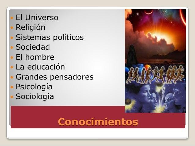 Conocimientos  El Universo  Religión  Sistemas políticos  Sociedad  El hombre  La educación  Grandes pensadores  P...