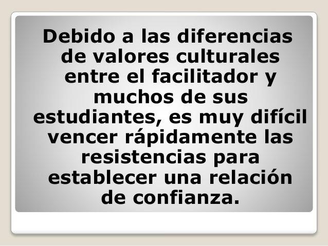 Debido a las diferencias de valores culturales entre el facilitador y muchos de sus estudiantes, es muy difícil vencer ráp...