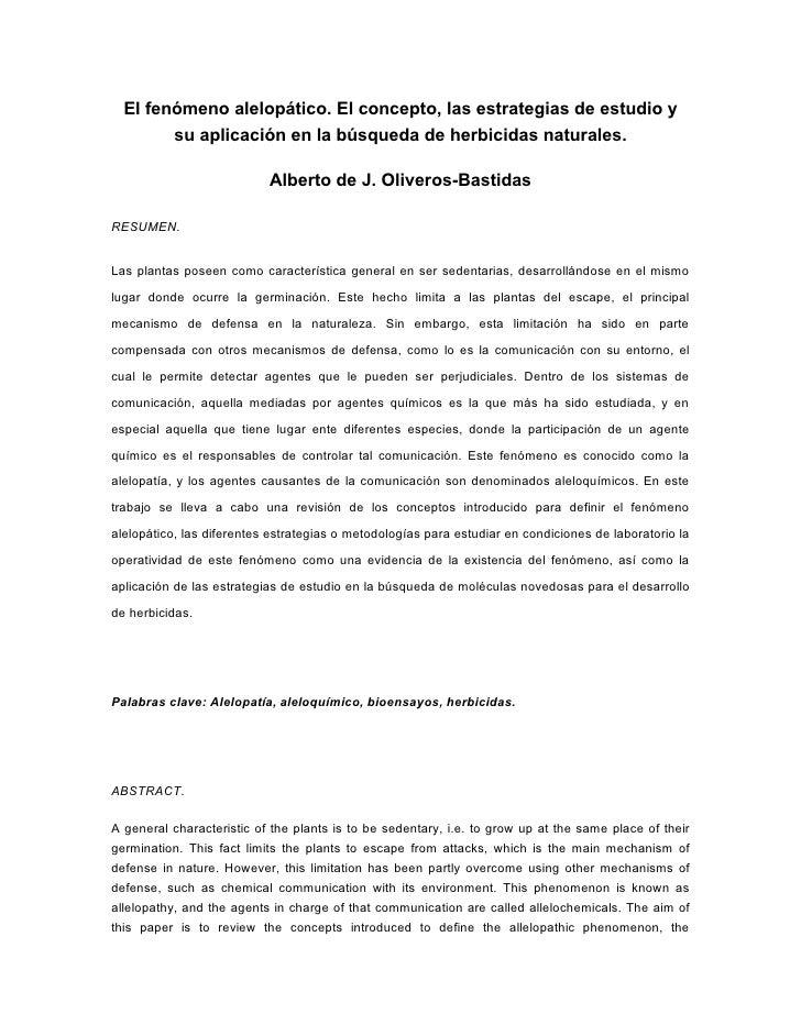 El fenómeno alelopático. El concepto, las estrategias de estudio y        su aplicación en la búsqueda de herbicidas natur...