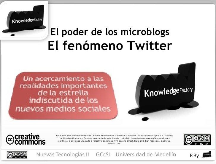 El poder de los microblogs El fenómeno Twitter Esta obra está licenciada bajo una Licencia Atribución-No Comercial-Compart...
