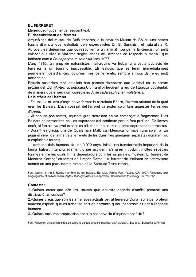 EL FERRERETLlegeix detingudament el següent text:El descobriment del ferreretArqueòlegs del Museu de Deià trobaren, a la c...