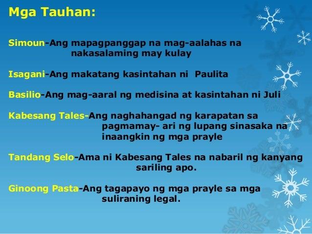 mga tauhan El filibusterismo - mga tauhan 1 el filibusteris mo ang limang  pangunahing karakter by: audrey abacan 2 -simounang mayamang.