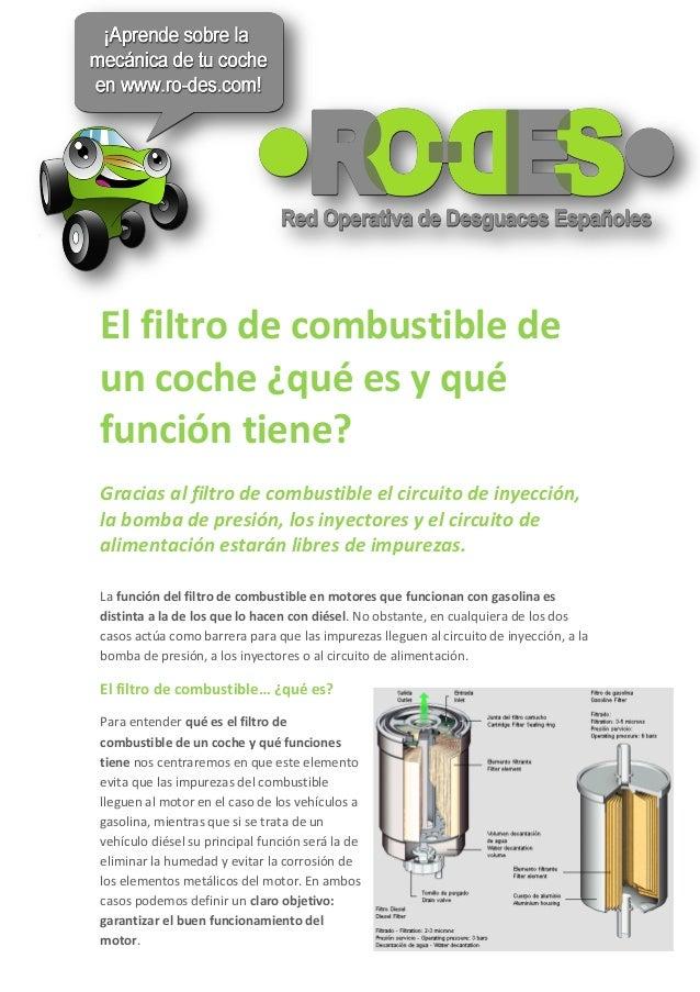 El filtro de combustible deun coche ¿qué es y quéfunción tiene?Gracias al filtro de combustible el circuito de inyección,l...