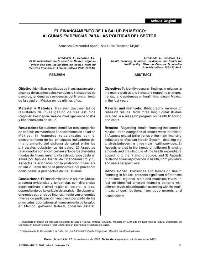 ENERO-ABRIL 2003. Año 9, Número 23. 9 EL FINANCIAMIENTO DE LA SALUD EN MÉXICO: ALGUNAS EVIDENCIAS PARA LAS POLÍTICAS DEL S...