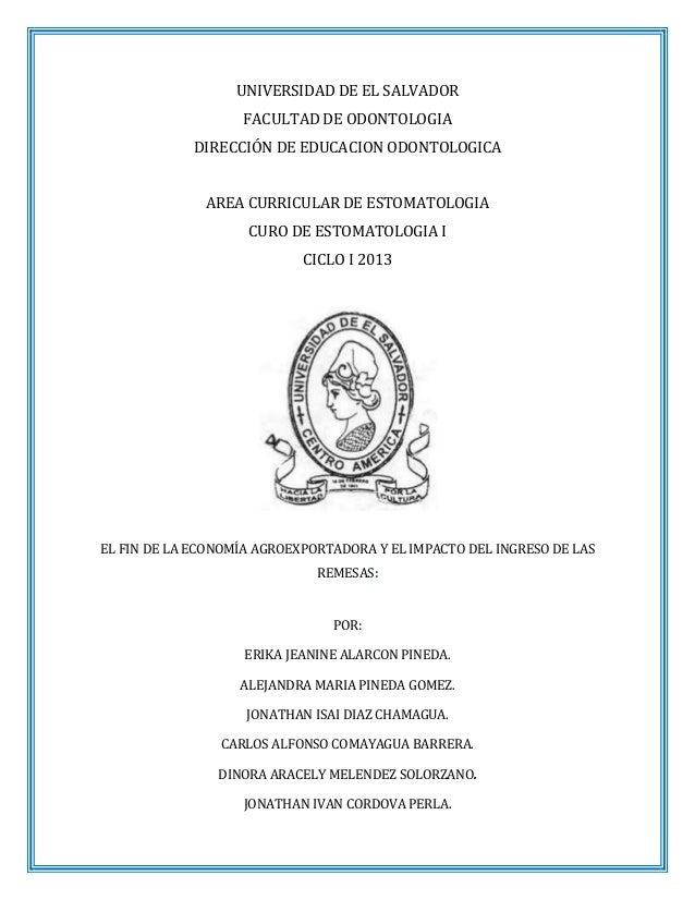 UNIVERSIDAD DE EL SALVADOR FACULTAD DE ODONTOLOGIA DIRECCIÓN DE EDUCACION ODONTOLOGICA AREA CURRICULAR DE ESTOMATOLOGIA CU...