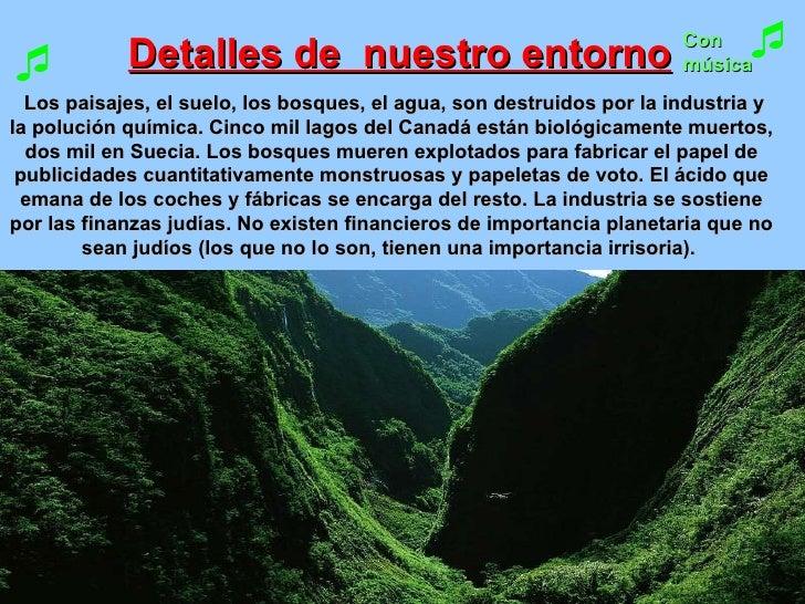 Detalles de  nuestro entorno   Los paisajes, el suelo, los bosques, el agua, son destruidos por la industria y la polución...