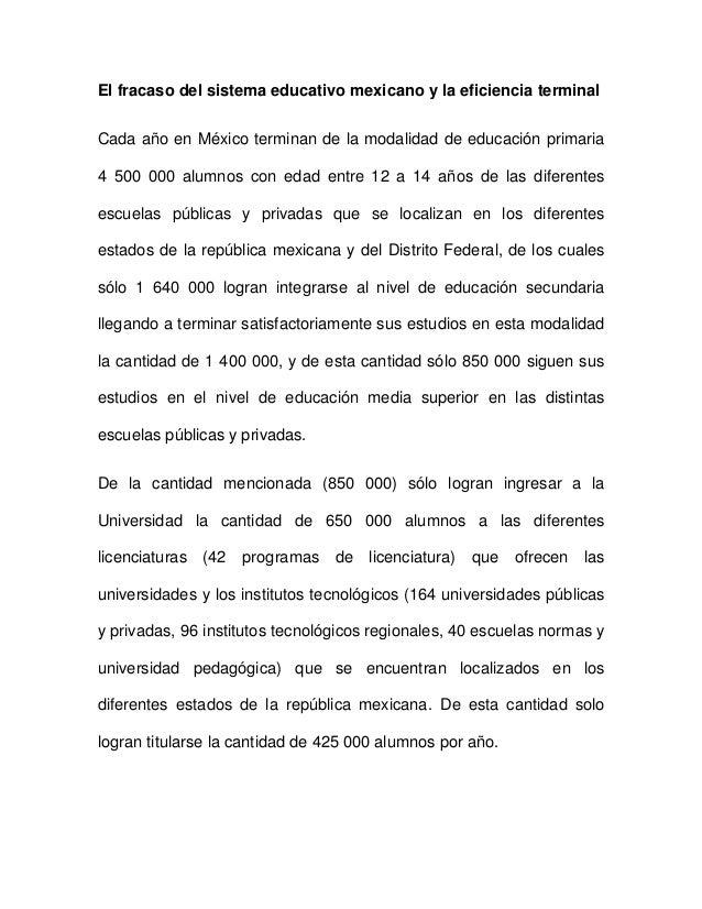 El fracaso del sistema educativo mexicano y la eficiencia terminalCada año en México terminan de la modalidad de educación...