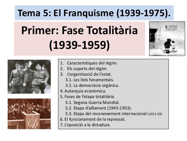 Tema 5: El Franquisme (1939-1975). Primer: Fase Totalitària (1939-1959) 1. Característiques del règim. 2. Els suports del ...