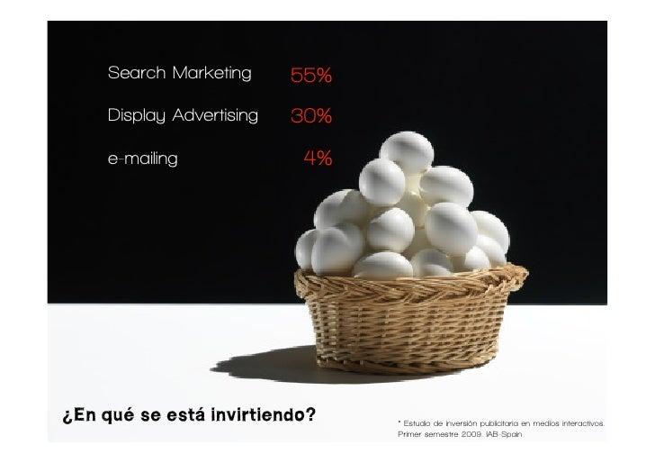 Search Marketing      55%      Display Advertising   30%      e-mailing             4%     ¿En qué se está invirtiendo?   ...