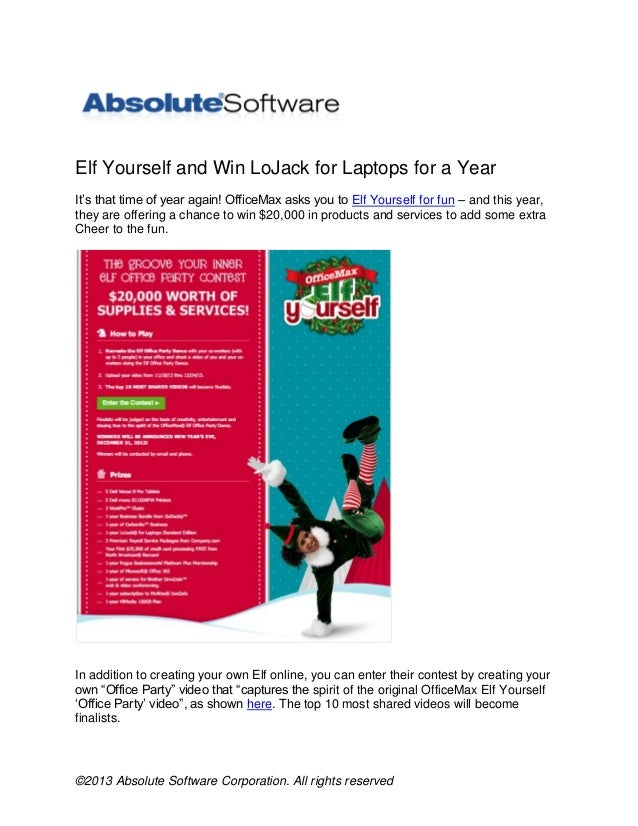 Elf Yourself and Win LoJack for Laptops for a Year