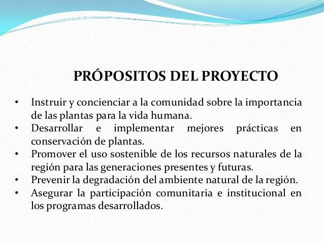 PRÓPOSITOS DEL PROYECTO•   Instruir y concienciar a la comunidad sobre la importancia    de las plantas para la vida human...