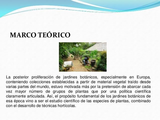 MARCO TEÓRICOLa posterior proliferación de jardines botánicos, especialmente en Europa,conteniendo colecciones establecida...