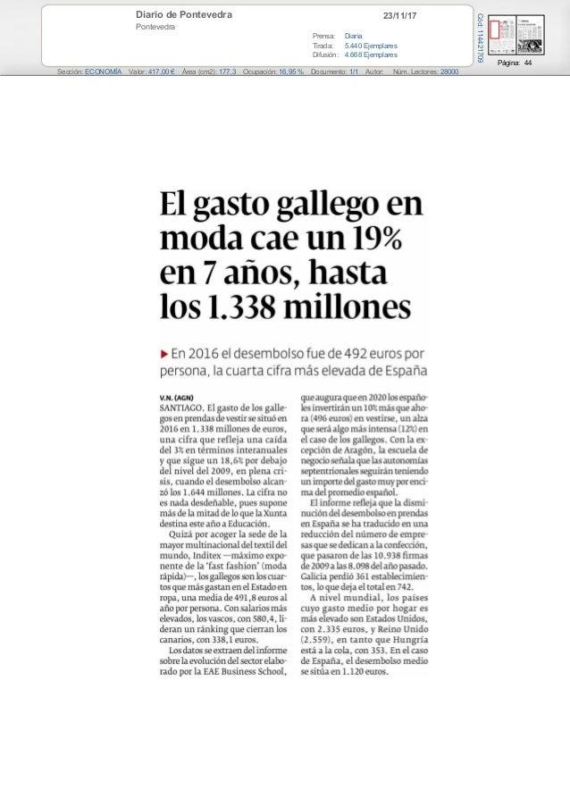 23/11/17Diario de Pontevedra Pontevedra Prensa: Diaria Tirada: 5.440 Ejemplares Difusión: 4.668 Ejemplares Página: 44 Secc...