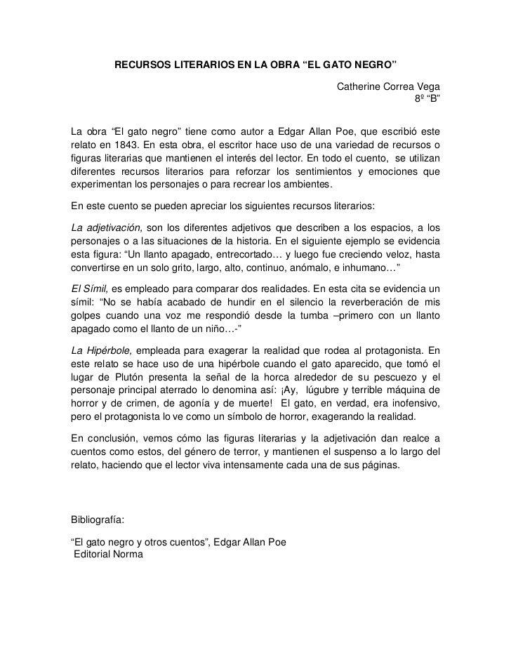 """RECURSOS LITERARIOS EN LA OBRA """"EL GATO NEGRO""""                                                             Catherine Corre..."""