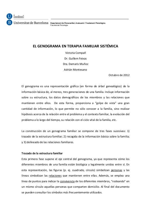 Departament de Personalitat, Avaluació i Tractament Psicològics Facultat de Psicologia  EL GENOGRAMA EN TERAPIA FAMILIAR S...