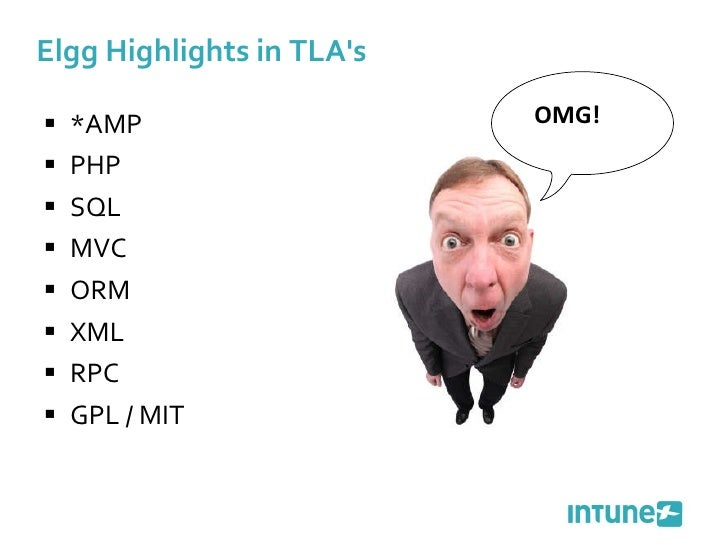 Elgg Highlights in TLA's <ul><li>*AMP </li></ul><ul><li>PHP </li></ul><ul><li>SQL </li></ul><ul><li>MVC </li></ul><ul><li>...