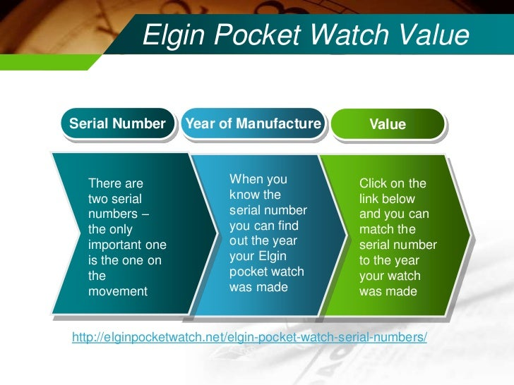 Dating An Elgin Area Watch By Serial Number