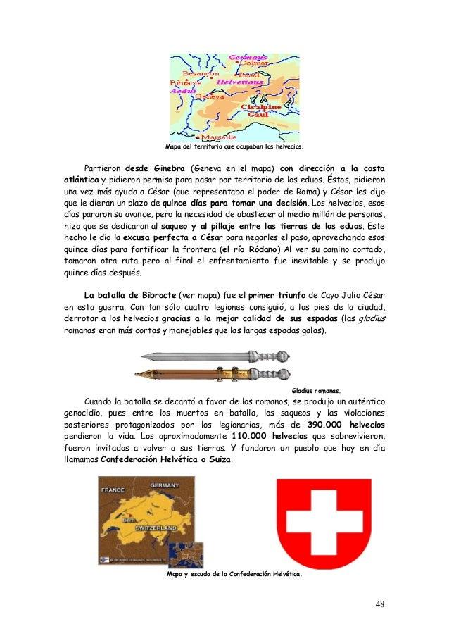 Mapa del territorio que ocupaban los helvecios. Partieron desde Ginebra (Geneva en el mapa) con dirección a la costa atlán...
